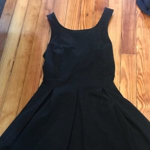 Black fit and flare dress w criss cross back